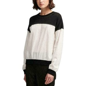 DKNY Top Blouse Black White Long Sleeves Sz S
